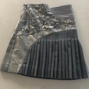 Unique pleated, high-waisted skirt